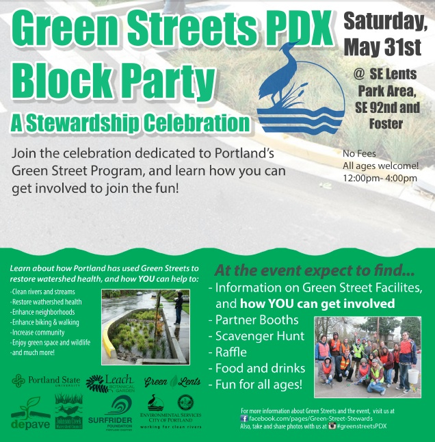 Green Streets PDX Block Party on May 31!